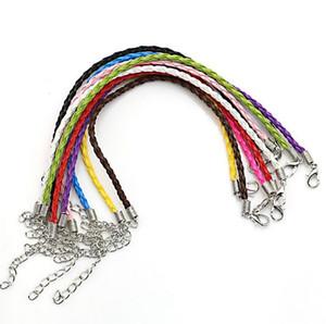 100pcs lot Mixed Color Braided Cow Leather Bracelet Cord Bracelets fit Charm Bracelet Jewelry Making Wristband DIY Handmade 18cm