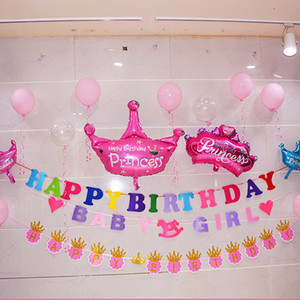 Feliz cumpleaños Carta Banner Garland Decoraciones de cartón Feliz cumpleaños Garland Birthday Party Supplies Decoración del partido