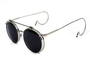Steampunk-2016 Nuovo G-Dragon Vintage rotonda flip up occhiali da sole donne Retro Steampunk uomini rispecchiato Occhiali Punti Moda Shades S861