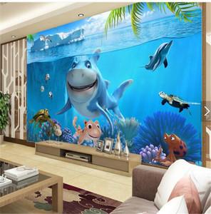 Ev Dekor Duvar Kağıdı kağıt fotoğraf karikatür sualtı dünyasını köpekbalığı Restoran Anaokulu çocuk odası 3d duvar resmi duvar kağıdı