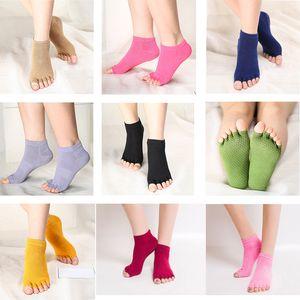 2017 Womens Yoga Socks 9 색 5 개의면 코튼 하프 투 요가 양말 미끄럼 방지 볼 발가락 안티 슬립 필라테스 발목 그립 내구성 오픈