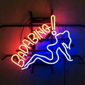 """17 """"x14"""" Bada Bing ragazza tutta VETRO tubo al neon LUCE BIRRA BAR PUB NIGHT CLUB SIGN"""