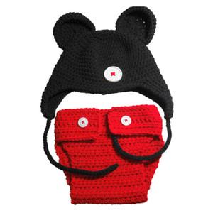 Costume de souris de bande dessinée nouveau-né, tricoté à la main au Crochet bébé garçon fille Animal HatDiaper Cover Set, accessoires de photographie pour bébé enfant en bas âge
