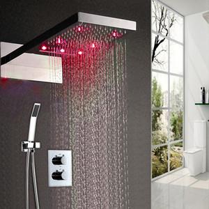 22-Zoll-verdeckte LED-Dusche Regen-Set Multi-Funktion Edelstahl Wasserfall Dusche mit Handbrause