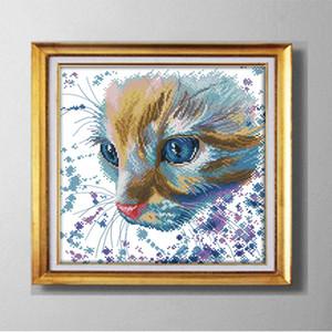 Акварель кошка, животные домашнего декора картины ручной работы крестом ремесло инструменты вышивка рукоделие наборы подсчитанные печати на холсте DMC 14CT / 11CT