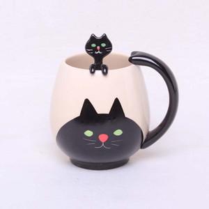 Toptan-El-boyalı Kahve Fincanı, Güzel Panda / Kurbağa / Kedi / Domuz Seramik Kupa Çay Fincanı kaşığı dahil