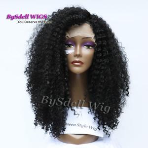 Neue Ankunft Afrikanische Verworrene Lockige Frisur Vordere Spitzeperücke Synthetische Schwarze Farbe Afro Verworrene Curl Lace Front Perücken für Schwarze Frau