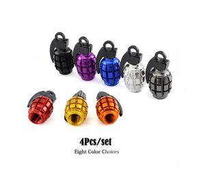 Accesorios para el automóvil 4 Unids / set Universal de Aluminio Diseño de Granada Rueda de Coche Tapas de Válvulas de Neumáticos de Bicicletas Tapa de Válvula de Aire de Llantas para Honda TOYOTA Benz FORD