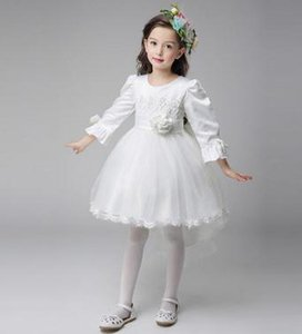 girls derss white princess dress of the flower girl dress is tailored contracted soft Pageant Dresses Tulle Ruffled princess dress fairy