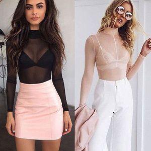 Toptan Satış - Moda Kadınlar Seksi Uzun Kollu Örgü Gömlek Casual Kırpma Üst Gevşek Mesh Sheer Tişört Tops