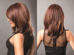 XT725 Peluca Larga Ondulada Para Mujeres Negras y Blancas Pelo Marrón Natural Resistente al Calor Pelo Sintético Pelucas de Fibra Alta