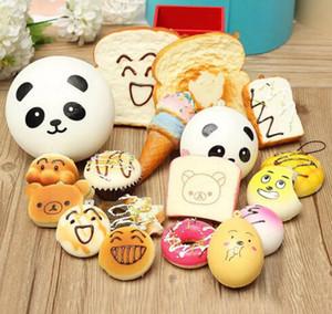 Venta al por mayor Kawaii Squishy Rilakkuma Donut Suave Squishies Correas de teléfono lindo Encantos del bolso Crecimiento lento Squishies Jumbo Buns Encantos del teléfono DHL libre