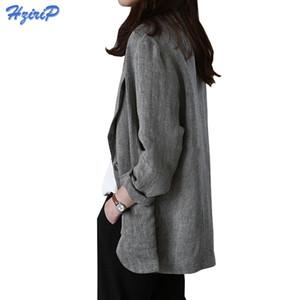 HziriP 2017 Yeni Sonbahar Kadın Blazers Ve Ceketler Tek Düğme Rahat Uzun Kollu Keten Ince Blazer Feminino Güneş Koruyucu Takım Ceket