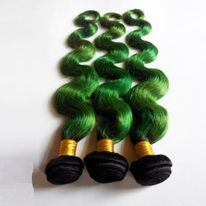 Não transformados virgem brasileira Humano trama do cabelo extensões Two Tone onda do corpo 1B / remy indiano verde Omber sexy cabelo Weave Hot Beauty DHgate cabelo