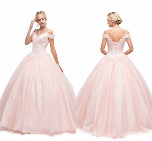 2020 Pink Ball Gown Quinceanera Beaded Off The Shoulder Sweet 16 Dresses Lace Appliques Bandage Back Long Sweep Train Party Prom Gowns