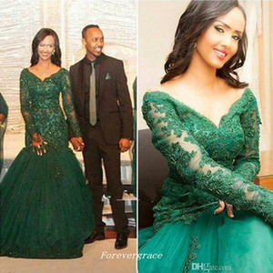Sexy Hunter Green Dubai Lace Long Sleeves Evening Dress V Neck Sweep Train Formal Special Occasion Dress Party Gown Custom Made Plus Size