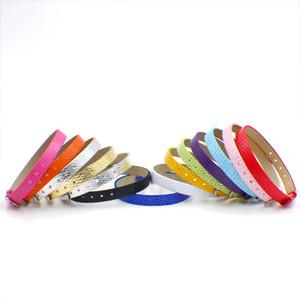 100 tiras 8mm de largura / 21 cm de comprimento de pele de cobra pulseira pulseira de couro pu apto para 8mm diy slide charme letras