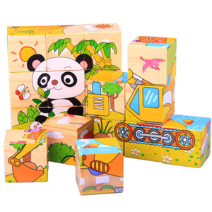 Kids Cube Building Blocks Wooden Cartoon Puzzles AnimaL Insects Vehicles Fruits 6in1 Colorful intelligence toys Baby Infants great gifts