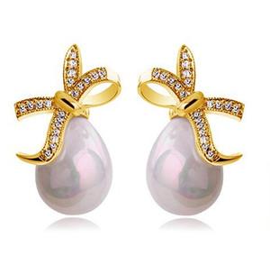 New Fashion 18K placcato oro bianco perla Waterdrop orecchini di perle Orecchini di cristallo Swarovski per le donne all'ingrosso