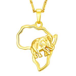 Hotsale Charm Fashion Halskette 18 Karat Gelbgold Überzog 925 Silber Überzogene Afrika Elefant Anhänger Halskette für Männer Frauen JNL1014