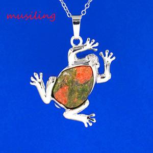 Doğal Taş Kurbağa Kolye Kolye Zinciri Kristal Ametist Opal vb Taş Gümüş Kaplama Kolye Zincir Aksesuarları Kadın Erkek Takı