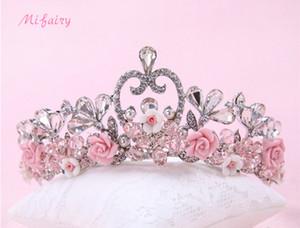 Flores de tul rosa / azul / blanco pequeñas coronas de novia Tiaras Chic perlas tocados nupciales de dama de honor postizos H48