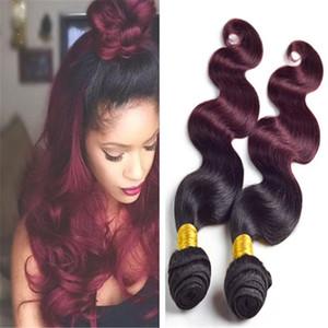 와인 레드 옹 브르 헤어 위브 Weft 3pcs Lot 8A 2 톤 1B 99J 부르고뉴 옴 브루 페루 바디 웨이브 Human Hair Extensions 3 Bundle