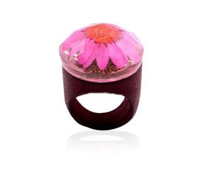 3 Colros Fashion Wooden Rings Trendy Original Flowers Wood Ring Creative Handmade Rhinestone Rings Finger Jewelry for women Wholesale