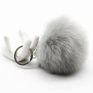 Gran llavero de cuero pom 8 CM de buena calidad KeyChain Rabbit Hair Bulb Bag Piel bola colgante lindo para las mujeres llavero