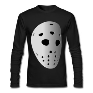 Sports Breathable Bottoming Shirt Hockey Mask Pattern on Long Sleeve Shirt Cotton Material Soft Clothes Shirt