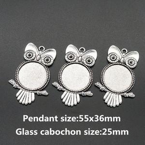 Оптово BL0072 ожерелье Antique Silver Установка кабошон Камеи поддоном лицевой панели Blank Fit 25мм стекло кабошон