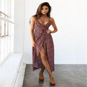 2017 Transporte Rápido DHL Mulheres Sexy Com Decote Em V Sem Mangas Floral Imprimir Vestido de Praia Das Senhoras Vestido de Festa À Noite