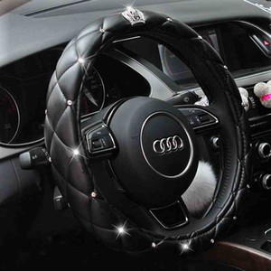 Crystal Crown Strass coperto Copertura del volante dell'automobile Custodie in pelle per sterzo automatico Custodie Diamond per donne Ragazze Car Styling