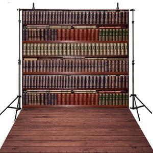 Graduation Season Vintage Bookshelf Backdrop School Bookcase Books Niños Niños Fondo fotográfico Suelo de madera Photo Booth Props