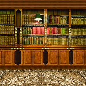Salle d'intérieur Bibliothèque Toile de fond Photographie Brown Lampe de table Lampe de table Vintage Carpet Photo Props Livres Fond d'écran Fond d'écran Tir