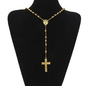 Gioielli religiosi cattolici da uomo Stile Hip Hop Colore oro Collana con perline in acciaio inossidabile Collana con croce rosario