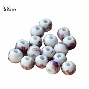 BoYuTe 100Pcs 12 Colors Round 10MM Porcelain Ceramic Loose Beads Diy Beads Jewelry Making Vintage Style Beads