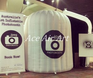1 Tür weiße Beleuchtung runden Stil aufblasbare Kuppel Photo Booth Gehäuse mit digital bedruckten Logo auf der Vorderseite