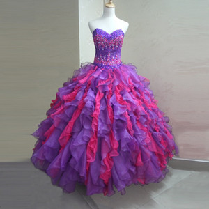 Amazing Two Colors Quinceanera Dress Ruffles Organza Ball Gown Sweetheart Vestidos de 15 anos 2019 Latest Crystals Beads Quinceanera Gowns