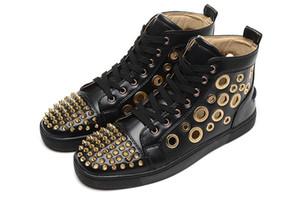 2018 الأزواج السامي الأعلى رصع المسامير عارضة الشقق أحذية فاخرة ماركة جديدة للرجال النساء حزب مصمم أحذية رياضية جلد طبيعي