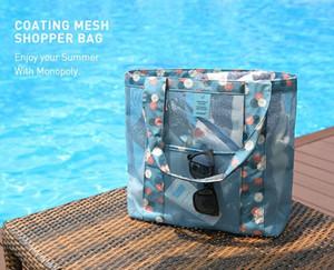 5 pçs / lote 2017 Grande capacidade de Moda Sacos de Praia Oxford Mesh Mulheres Bolsa de Ombro Senhora swimwear Bolsa Multi-função Saco de armazenamento Ao Ar Livre