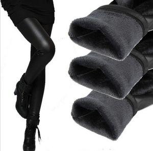 All'ingrosso-donne leggins 2016 autunno inverno legging ispessimento velluto nero leggings in pelle pantaloni skinny caldo per le donne legins