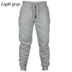 Wholesale-Mens Slim Tracksuit Bottoms Skinny Joggers Pants Trousers Hot New Fashion Light gray Flat