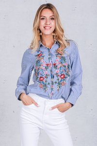 Embroidery female blouse shirt Casual blue striped shirt Spring autumn cool long sleeve blouse women tops clothing