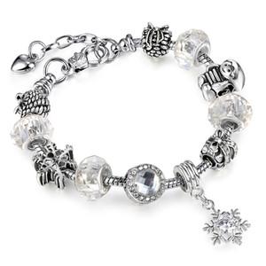 Nuevo europeo Permitir plata plateado abalorios Crystal Charm Bracelet con blanco Murano Glass Beads Charm DIY joyería AA97