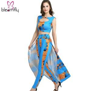 Womens Floor Long Dress Zwei Stücke Split Beach Sommerkleid mit Hosen Maxi Blumendruck Vestidos Sexy Top aushöhlen tragen