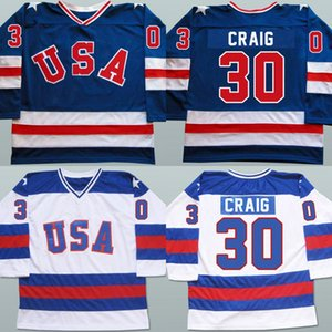 Mens 30 Jim Craig Jersey 1980 Miracle On Ice Hockey Maillots 100% Cousu broderie Team USA Hockey Maillots Bleu Blanc S-3XL