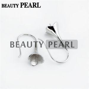 925 Achados Sterling Jóias earwire Plano Fishhook com Cap Bead por metade perfurados Pearls 3 pares