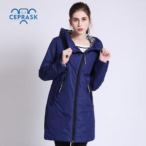 2017 de alta calidad de primavera Autum Parka mujeres chaquetas finas a prueba de viento largo más tamaño con capucha nuevos diseños abrigo de mujer CEPRASK