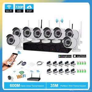 8CH Sistema de CCTV Sem Fio 720 P NVR 8 PCS 1.0MP IR ao ar livre P2P Wifi IP CCTV Câmera de Segurança Sistema de Vigilância Kit
